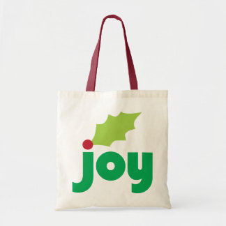 Joy with Holly Leaf and Berry Tote Canvas Bags