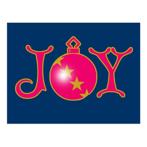 JOY with Ornament on Apparel and Gifts Postcard