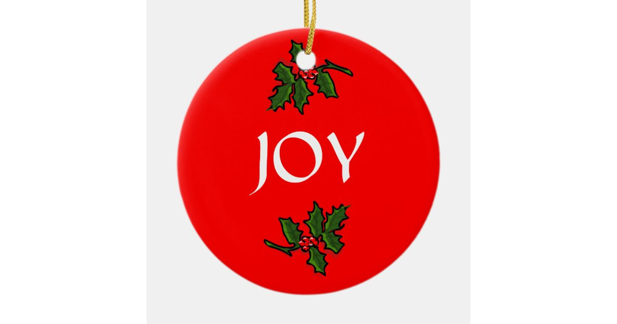 Joy Word Holly with Red Berries Christmas Green Ceramic Ornament