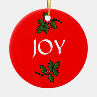 Joy Word Holly with Red Berries Christmas Green Christmas Tree Ornament