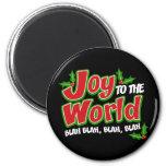 Joy World Blah Blah Round Magnet (dark) Fridge Magnets