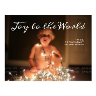 Joy World Holiday Photo Christmas Wishes Family Postcard
