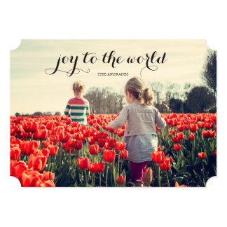 Joy World Kid Christmas Personalized Holiday Photo Card