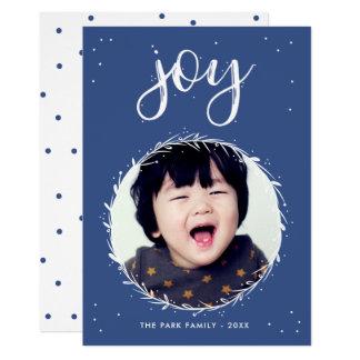 Joy Wreath - Blue & White Holiday Photo Card