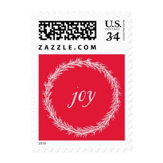 Joy Wreath Christmas Postage Stamp