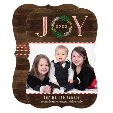 Christmas Themed Joy Wreath Holiday Photo Card Christmas Card