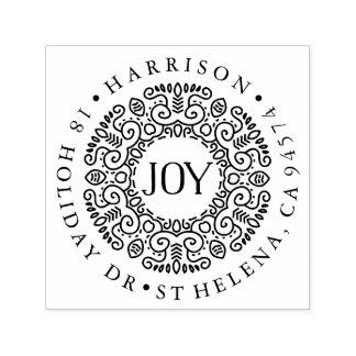 Joy Wreath Holiday Return Address Self-inking Stamp