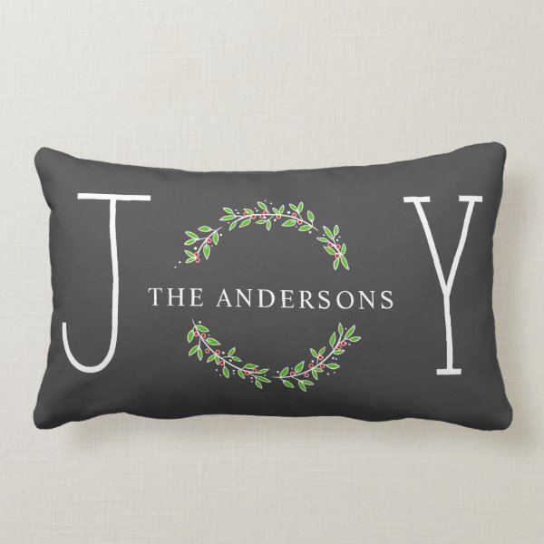 Joy Wreath Modern Monogram Christmas Holiday Lumbar Pillow