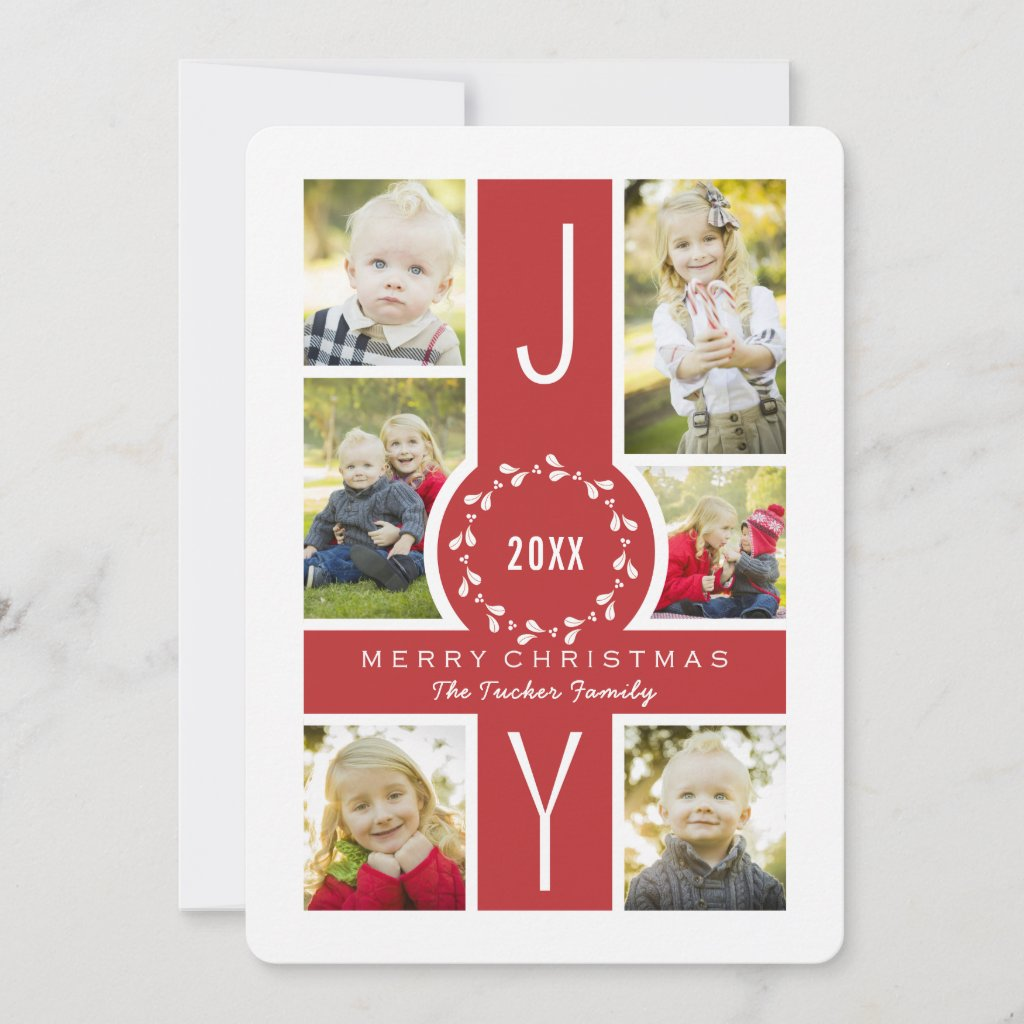 Joy Wreath Monogram Christmas Collage Photo Card