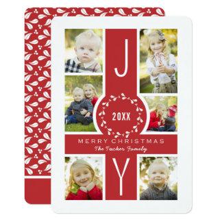 Joy Wreath Monogram Christmas Photo Card in Red