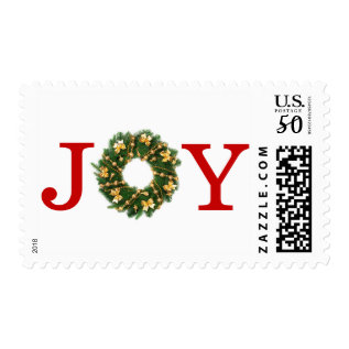 Joy Wreath - Postage Stamp at Zazzle