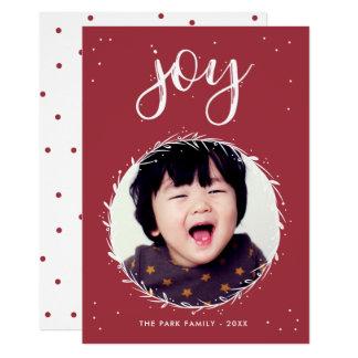Joy Wreath - Red & White Holiday Photo Card