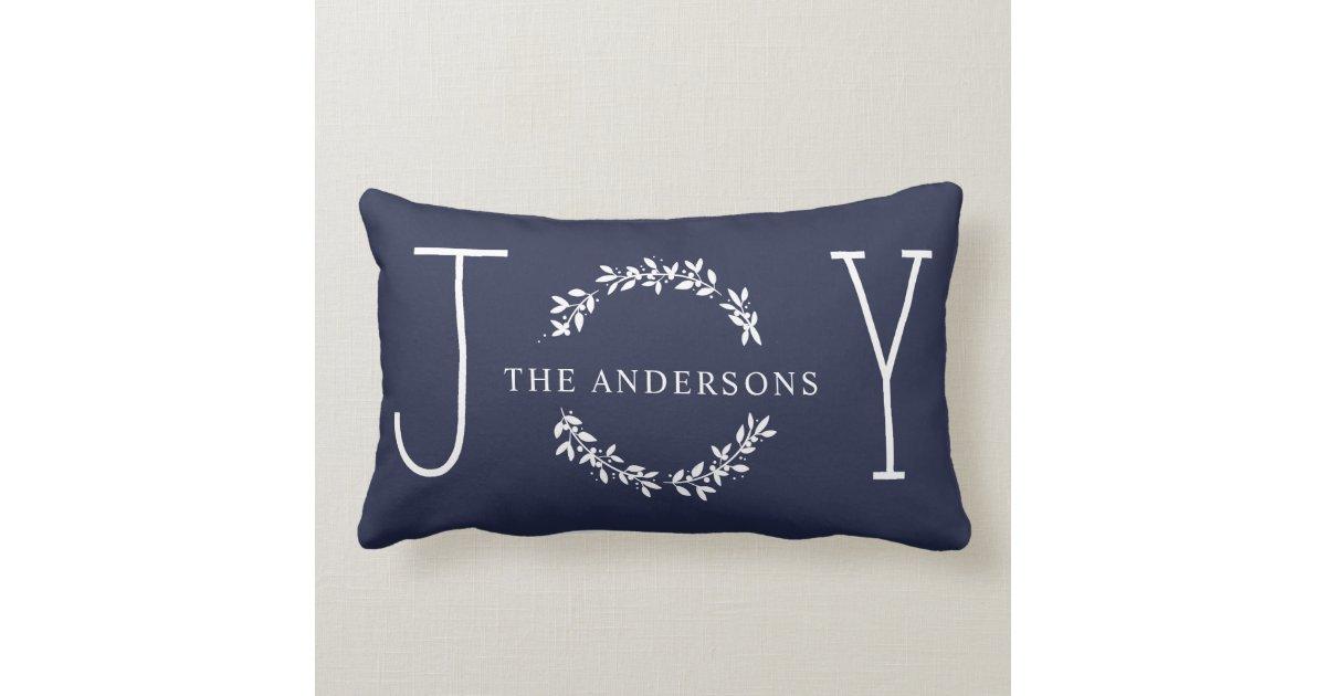 Joy Wreath White Modern Monogram Christmas Holiday Lumbar Pillow Zazzle.com