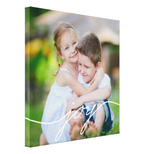 JOY Writing Custom Photo Canvas at Zazzle