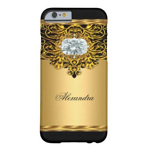 Joya adornada 2 del diamante del negro real del funda de iPhone 6 barely there