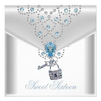 Joya azul de plata blanca elegante 16 del dulce di comunicados