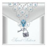 Joya azul de plata blanca elegante 16 del dulce comunicados