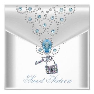 """Joya azul de plata blanca elegante 16 del dulce invitación 5.25"""" x 5.25"""""""