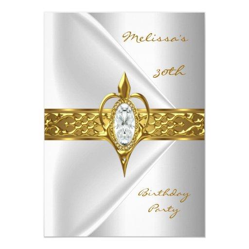 """Joya blanca de seda del oro del diamante de la invitación 5"""" x 7"""""""