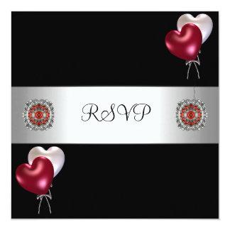 """Joya blanca roja de los globos del negro del invitación 5.25"""" x 5.25"""""""