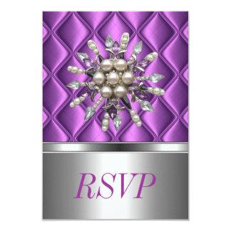 "Joya cristalina púrpura de color de malva de plata invitación 3.5"" x 5"""