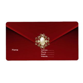 Joya de color rojo oscuro de la perla del terciope etiqueta de envío
