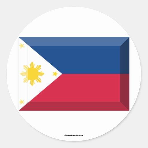 Joya de la bandera de Filipinas Pegatina Redonda