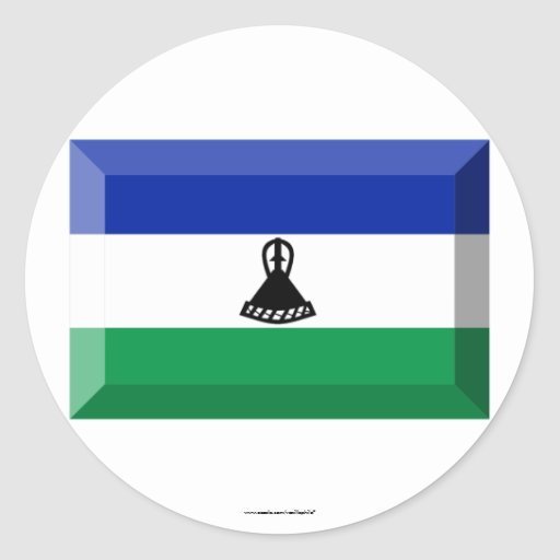 Joya de la bandera de Lesotho Etiquetas Redondas