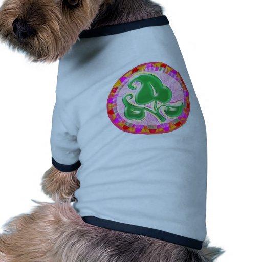 Joya de la hoja del verde esmeralda camiseta con mangas para perro
