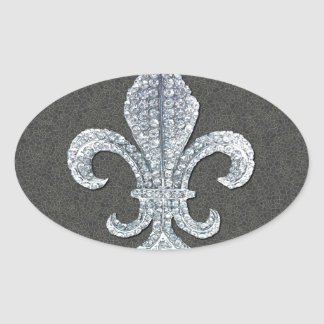 Joya de piedra de Flor New Orleans de la flor de Pegatina Ovalada