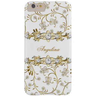 Joya de plata del diamante del oro blanco floral funda para iPhone 6 plus barely there
