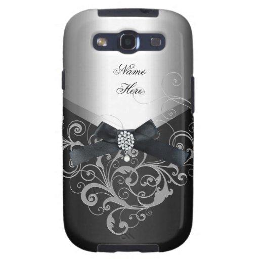 Joya de plata floral B del diamante negro de la Samsung Galaxy SIII Funda