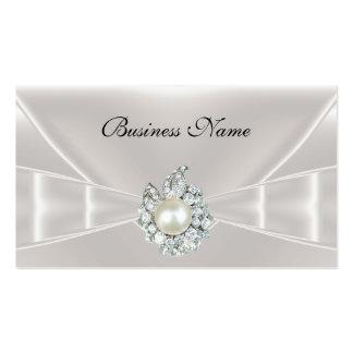 Joya de seda blanca elegante del arco de la tarjetas de visita