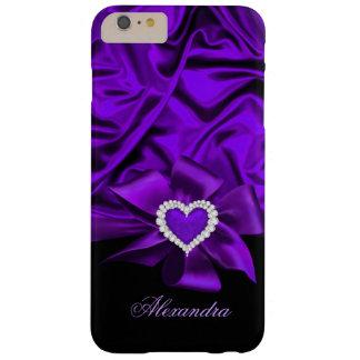 Joya de seda púrpura elegante del corazón del funda barely there iPhone 6 plus