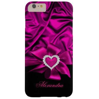 Joya de seda rosada oscura elegante del corazón funda para iPhone 6 plus barely there