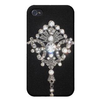 Joya del diamante de Bling en el terciopelo negro iPhone 4/4S Carcasas