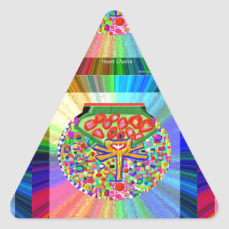 Joya fijada en el CORAZÓN CHAKRA Pegatina Triangular