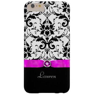 Joya negra del rosa del damasco personalizada funda de iPhone 6 plus barely there