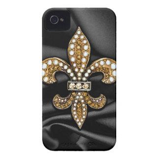 Joya negra del satén de la flor de lis del oro iPhone 4 fundas