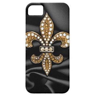 Joya negra del satén de la flor de lis del oro iPhone 5 carcasa