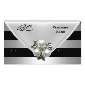 Joya negra elegante de la perla de la tarjeta de v plantillas de tarjeta de negocio