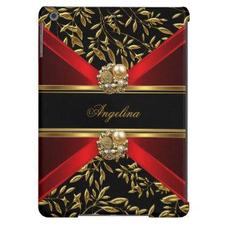 Joya negra roja con clase elegante del damasco del funda para iPad air