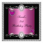Joya negra rosada del corazón del 21ro cumpleaños  comunicados