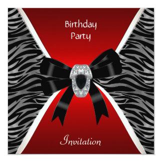 Joya negra salvaje roja del cumpleaños elegante de invitación