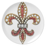 Joya New Orleans de la flor de lis de Flor De Lis Plato Para Fiesta