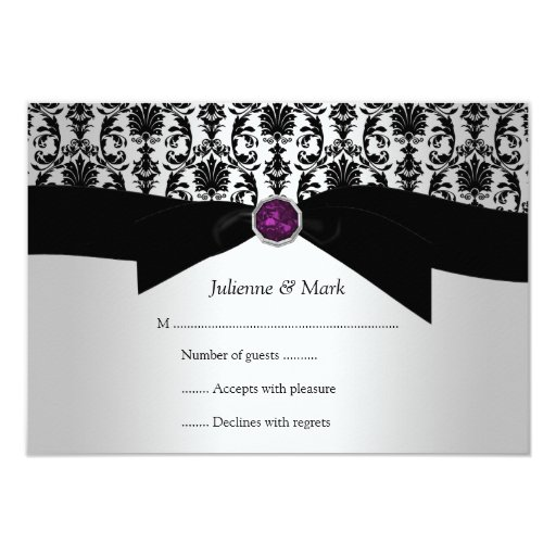 "joya púrpura RSVP del damasco de plata negro 3.5x5 Invitación 3.5"" X 5"""