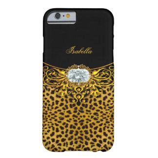 Joya real 2 del diamante del leopardo del negro funda para iPhone 6 barely there