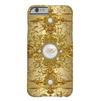 Joya rica adornada blanca elegante del oro funda de iPhone 6 barely there