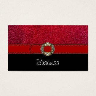 Joya roja de la correa del cuero blanco del negro tarjetas de visita