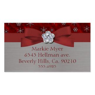 Joya roja de los copos de nieve del terciopelo y d plantillas de tarjetas de visita